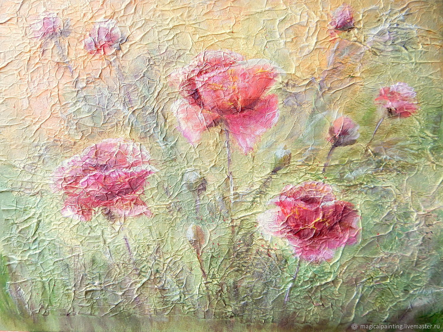 Painting relief 'Poppies in the grass' to order, Pictures, St. Petersburg,  Фото №1