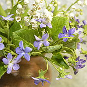 Цветы и флористика handmade. Livemaster - original item Spring bouquet of lilies of the valley and violets. Polymer clay.. Handmade.