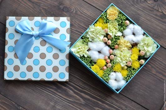 Интерьерные композиции ручной работы. Ярмарка Мастеров - ручная работа. Купить Нежная коробочка с цветами. Handmade. Коробочка с цветами