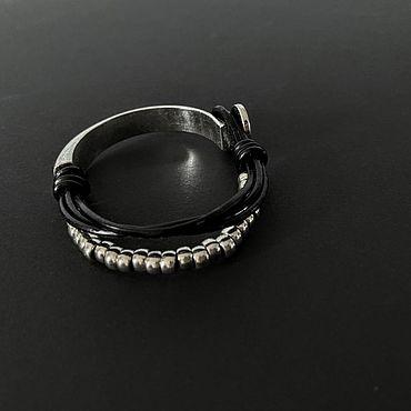 Decorations handmade. Livemaster - original item Bracelets: women`s stylish metal bracelet and leather cord. Handmade.