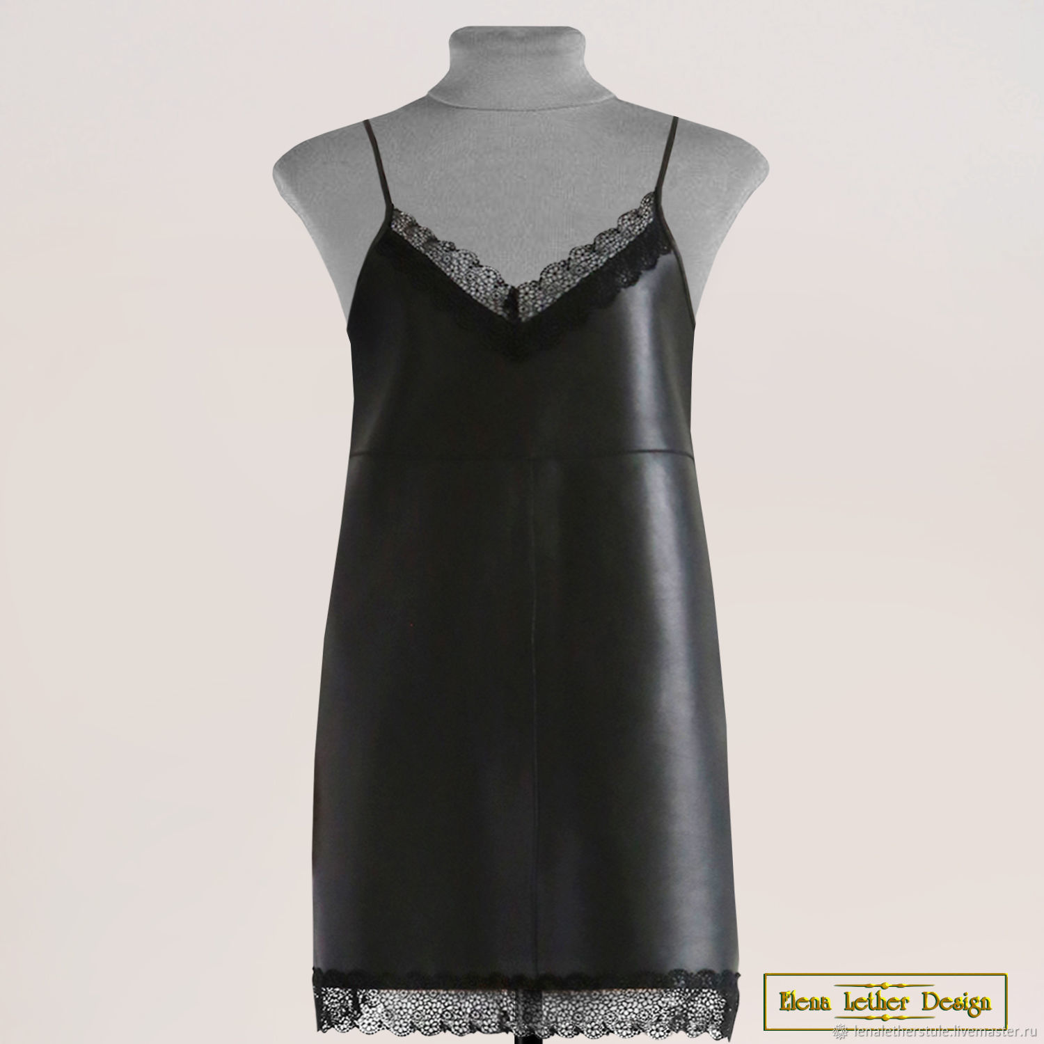 Sundress 'Leather and lace' on thin straps, Childrens Dress, Rodniki,  Фото №1