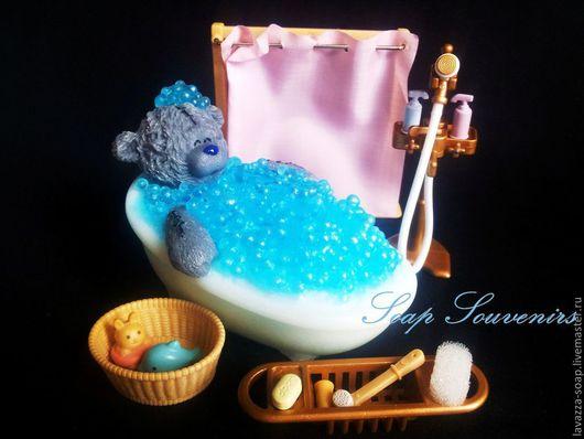 Мыло ручной работы. Ярмарка Мастеров - ручная работа. Купить Мыло Мишка в ванной. Handmade. Голубой, мишка, мишка-тедди