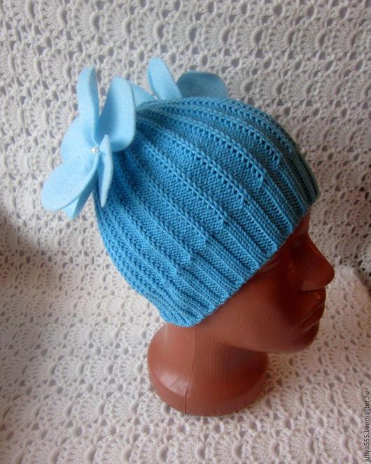 Шапки и шарфы ручной работы. Ярмарка Мастеров - ручная работа. Купить Мериносовая шапочка Цветочки.... Handmade. Комбинированный