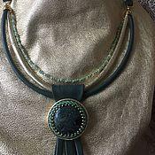 Украшения handmade. Livemaster - original item Necklace from genuine leather with Jasper.. Handmade.