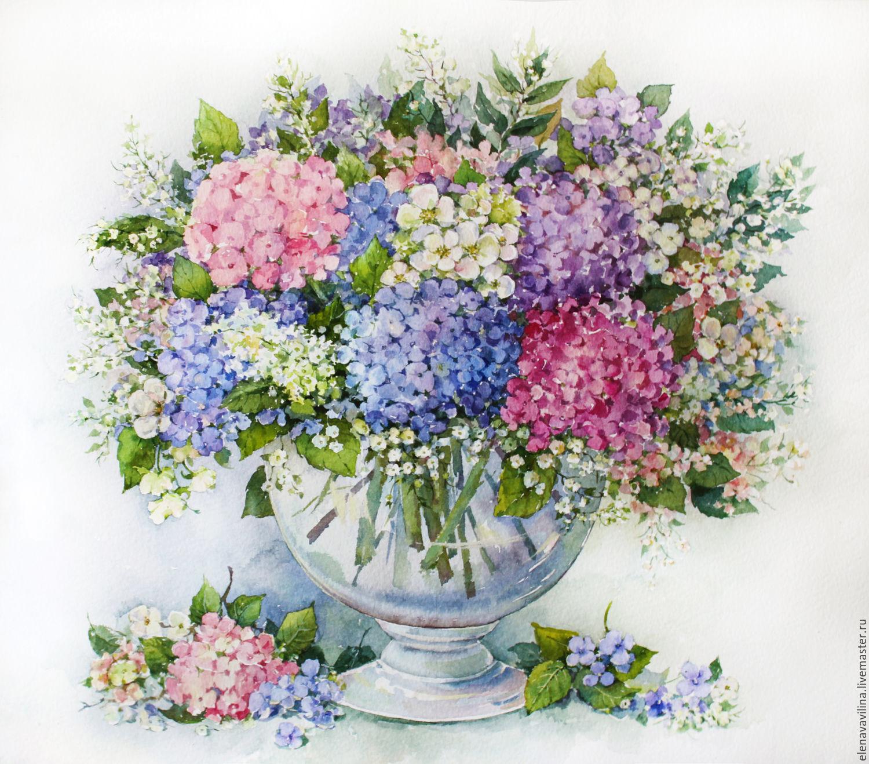 Картины цветов ручной работы. Ярмарка Мастеров - ручная работа. Купить Королевская гортензия. Handmade. Цветы, розовый, акварель