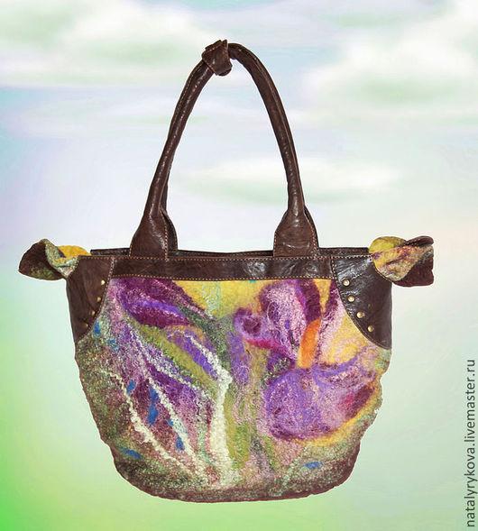 Женские сумки ручной работы. Ярмарка Мастеров - ручная работа. Купить Сезон ирисов валяная сумка кожа натуральная. Handmade.
