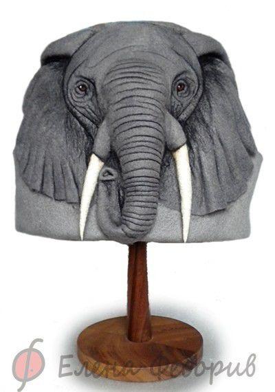 """Банные принадлежности ручной работы. Ярмарка Мастеров - ручная работа. Купить Шапка для бани """"Слон"""". Handmade. Серый, войлок"""