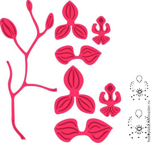 """Открытки и скрапбукинг ручной работы. Ярмарка Мастеров - ручная работа. Купить Набор форм для вырубки и штампы """"Орхидея"""". Handmade."""