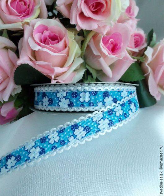 Шитье ручной работы. Ярмарка Мастеров - ручная работа. Купить Лента репсовая синяя  цветами 15 мм. Handmade.