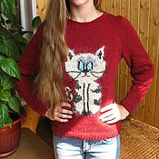 Одежда ручной работы. Ярмарка Мастеров - ручная работа Джемпер  женский вязаный (пуловер) с котом. Handmade.