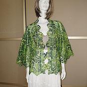 Одежда ручной работы. Ярмарка Мастеров - ручная работа Жакет ажурный хлопковый благородная зелень. Handmade.