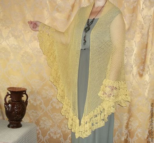 Шали, палантины ручной работы. Ярмарка Мастеров - ручная работа. Купить шаль. Handmade. Желтый, подарок, подарок на 8 марта