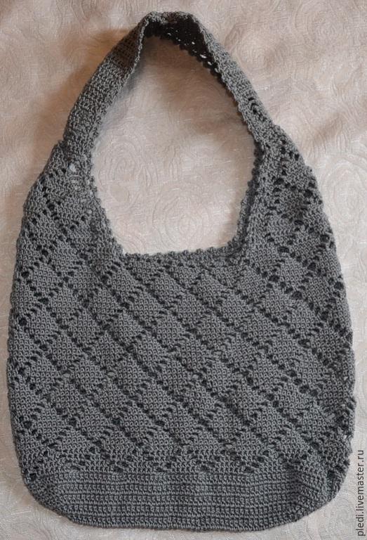 Женские сумки ручной работы. Ярмарка Мастеров - ручная работа. Купить Летняя хлопковая сумка в ромбик. Handmade. Серый