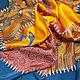 Очень красивый стильный платок с мелкими графическими орнаментами (спирали, цветочки, волны). Яркий аксессуар. 100% ручная работа, батик платок