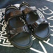 Обувь ручной работы handmade. Livemaster - original item Velcro sandals made of genuine crocodile leather.. Handmade.