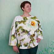 Одежда ручной работы. Ярмарка Мастеров - ручная работа Белый цветок блузка трикотаж декорирован шерстью. Handmade.