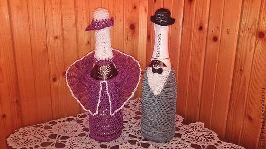 """Подарочное оформление бутылок ручной работы. Ярмарка Мастеров - ручная работа. Купить Украшения для бутылок """"ВСЕГДА ВМЕСТЕ"""". Handmade."""