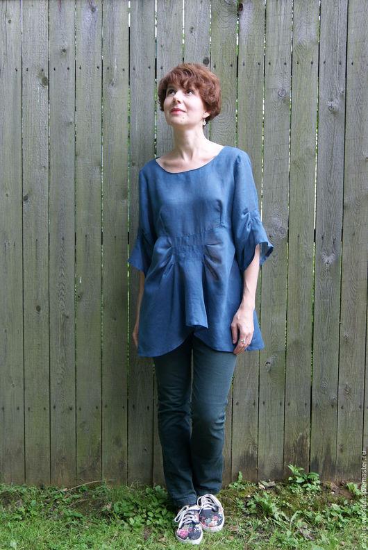 """Блузки ручной работы. Ярмарка Мастеров - ручная работа. Купить Блузка льняная """"Индиго"""". Handmade. Синий, свободный покрой, голубой"""