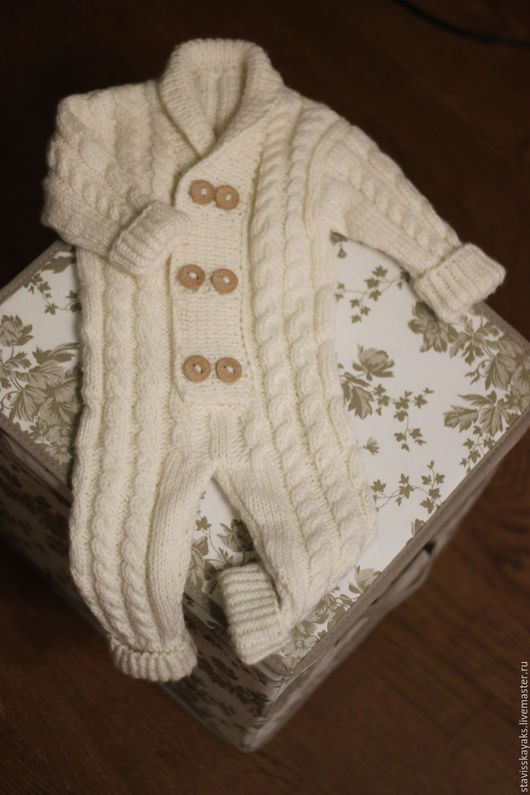Одежда унисекс ручной работы. Ярмарка Мастеров - ручная работа. Купить Комбинезон для малыша. Handmade. Белый, с косичками, для новорожденного