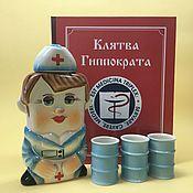 handmade. Livemaster - original item A nurse with 3 glasses. set the Hippocratic Oath. Handmade.