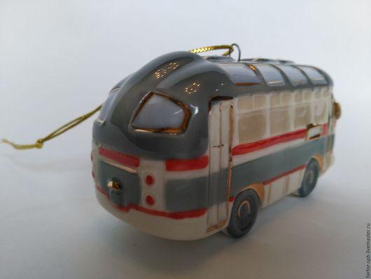 Персональные подарки ручной работы. Ярмарка Мастеров - ручная работа. Купить Елочная игрушка Ретро Автобус. Handmade. Елочные игрушки