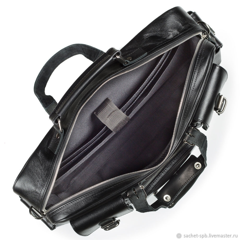 97c1e82520ba ... Мужские сумки ручной работы. Кожаная деловая сумка для командировок  'Ричард' (чёрная) ...