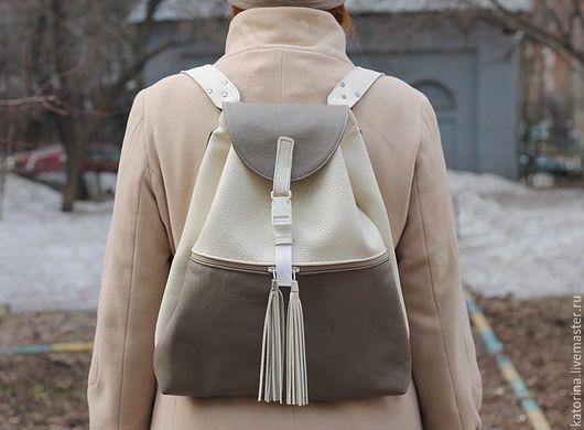 Рюкзаки ручной работы. Ярмарка Мастеров - ручная работа. Купить Городской Рюкзак из натуральной кожи с кисточками Молочный беж. Handmade.