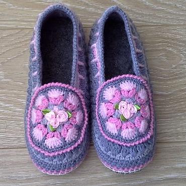 Обувь ручной работы. Ярмарка Мастеров - ручная работа Домашние тапочки на войлочной подошве Анжелика. Handmade.