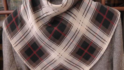 Винтажная одежда и аксессуары. Ярмарка Мастеров - ручная работа. Купить Шёлковый платок на шею.. Handmade. Бежевый, винтажный