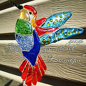 """Цветы и флористика ручной работы. Ярмарка Мастеров - ручная работа Декор для цветов """"Колибри"""", стекло, фьюзинг. Handmade."""