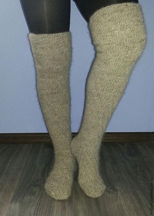 Носки, Чулки ручной работы. Ярмарка Мастеров - ручная работа. Купить Гольфы-чулки из собачьей шерсти. Handmade. Серый, шерсть