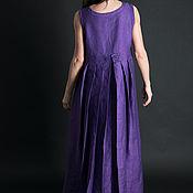 Одежда handmade. Livemaster - original item Loose, linen dress-purple - DR0171LE. Handmade.