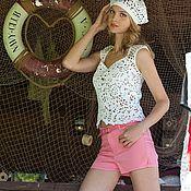 Одежда ручной работы. Ярмарка Мастеров - ручная работа Топ вязаный крючком Лето на море авторская работа. Handmade.