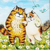 """Картины и панно ручной работы. Ярмарка Мастеров - ручная работа """"Кот и кошка"""" картина для семейного благополучия). Handmade."""