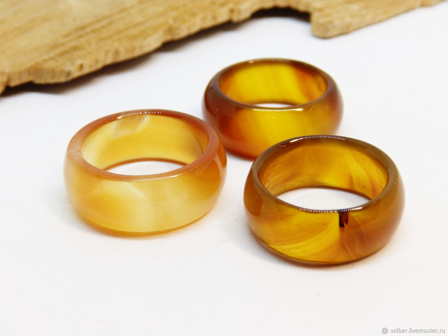 Wide ring orange-yellow agate 17.5-18.25 p-R, Rings, Gatchina,  Фото №1