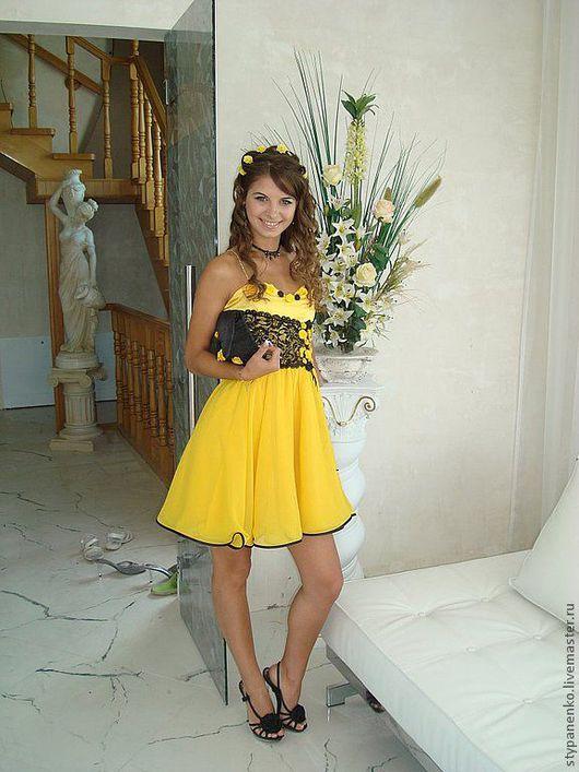 Платья ручной работы. Ярмарка Мастеров - ручная работа. Купить Платье Росина. Handmade. Коктейльное платье, желтое платье, кружево