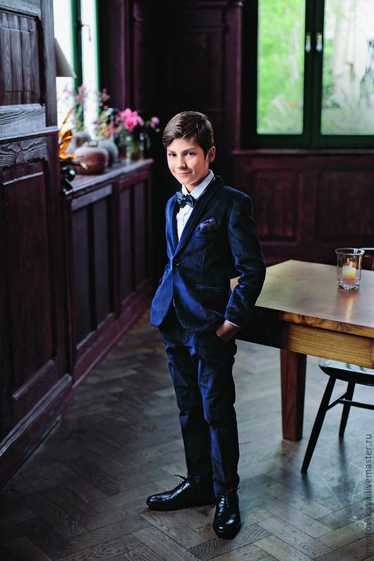 """Для подростков, ручной работы. Ярмарка Мастеров - ручная работа. Купить Пиджак и брюки """"Бархатный"""" для мальчика. Handmade. Тёмно-синий"""