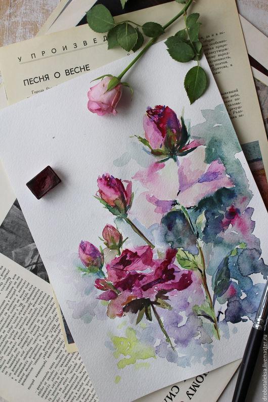 Картины цветов ручной работы. Ярмарка Мастеров - ручная работа. Купить Аромат роз. Handmade. Комбинированный, акварель, цветы акварелью
