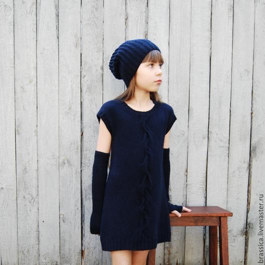 платье, платье вязаное, платье кашемировое, платье для девочки, платье-свитер, вязание для детей, осень  2015
