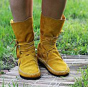 Обувь ручной работы handmade. Livemaster - original item boot moccasins made of genuine leather in mustard. Handmade.