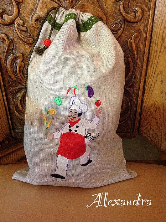 """Кухня ручной работы. Ярмарка Мастеров - ручная работа. Купить Мешочек для хлеба """"У Марио"""". Handmade. Серый, лён"""
