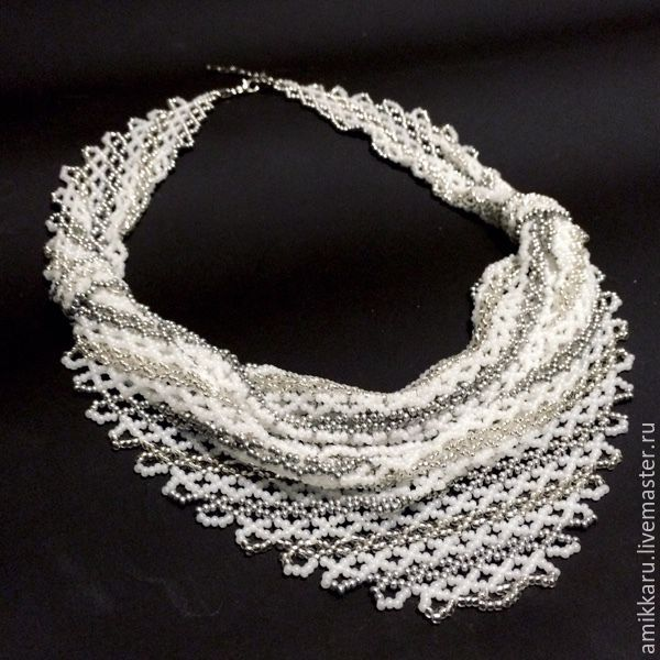 Wedding necklaces solitaire beaded white, Necklace, Kireevsk,  Фото №1
