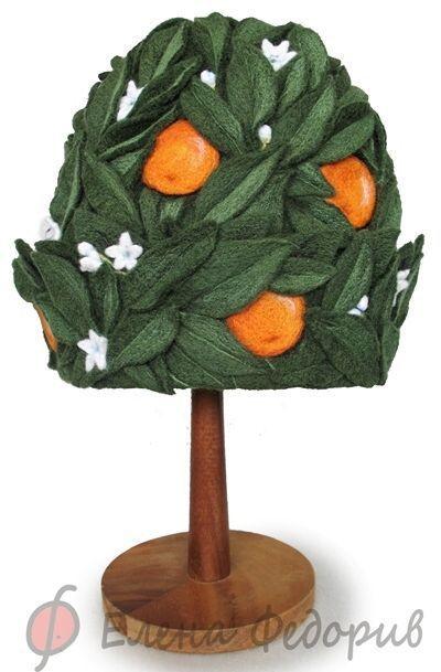 """Банные принадлежности ручной работы. Ярмарка Мастеров - ручная работа. Купить Шапка для бани """"Апельсиновое дерево"""". Handmade. Войлок, апельсин"""