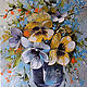 Flower Paintings handmade. Livemaster - handmade. Buy A bunch.Blue, flowers, oil painting, picture