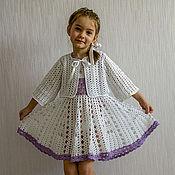 Работы для детей, ручной работы. Ярмарка Мастеров - ручная работа Очаровательный бело-сиреневый комплект для девочки. Handmade.