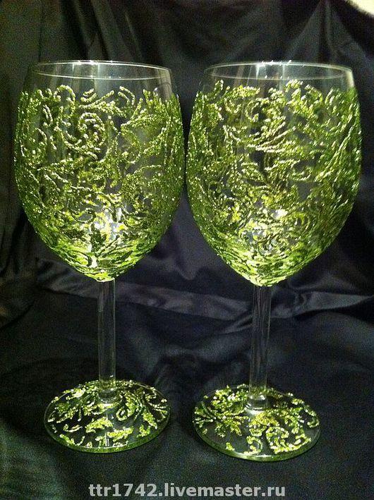 """Бокалы, стаканы ручной работы. Ярмарка Мастеров - ручная работа. Купить Бокалы под вино """"В зеленых тонах"""". Handmade."""