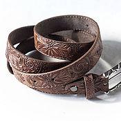 Аксессуары handmade. Livemaster - original item Beige Brown Leather Belt for Women. Handmade.