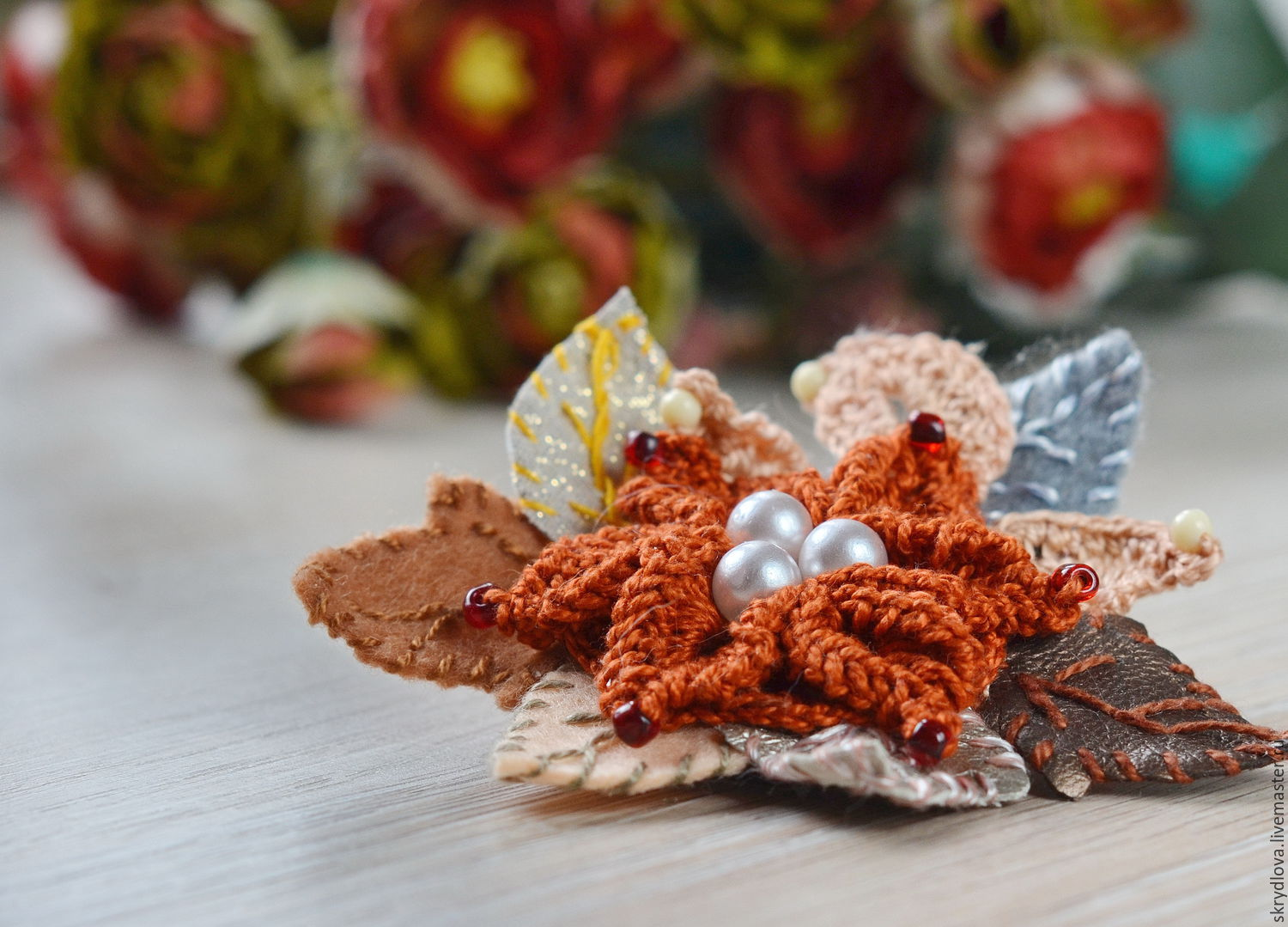 Knitted brooch-a flower in the style of 'boho' Terracotta, Brooches, Lyubertsy,  Фото №1