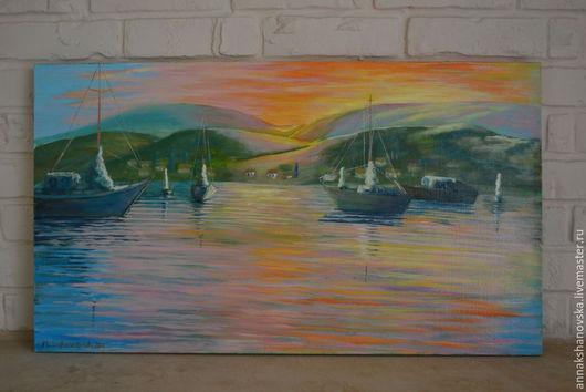 """Пейзаж ручной работы. Ярмарка Мастеров - ручная работа. Купить Картина """"Лодки на закате"""". Handmade. Море, морской пейзаж, картина"""
