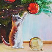 Картины и панно handmade. Livemaster - original item Oil painting Playful kitten. Handmade.